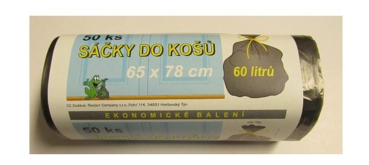 Pytle na odpad pevné 60 L mikrotenový 50 ks/role černý