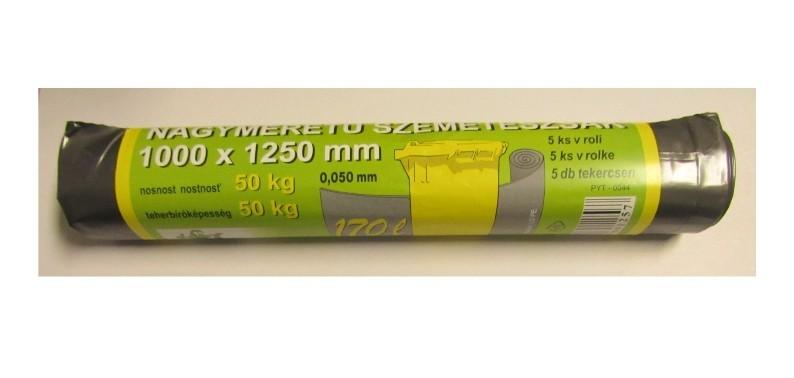 Pytle na odpad 170 L 100x125 cm, šedostříbrné, 5ks/role