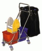 Úklidový vozík dvoukbelíkový s držákem